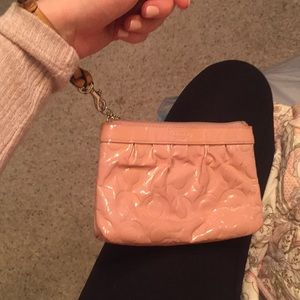 Coach rose leather pink wristlet Wallet!